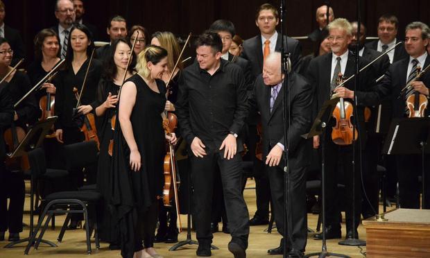 Nadia Sirota, Nico Muhly and Maestro Leonard Slatkin after the premiere of Muhly's Viola Concerto