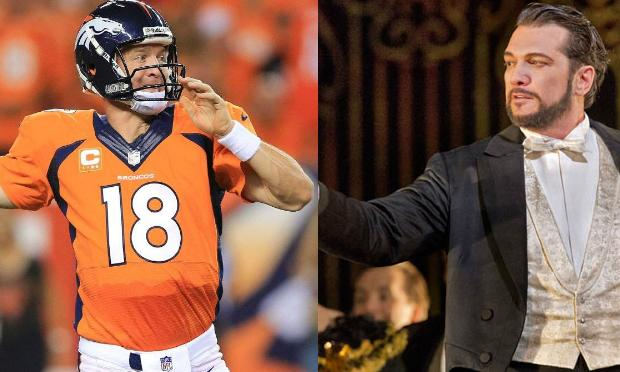 Peyton Manning of the Denver Broncos and Paulo Szot of the Metropolitan Opera