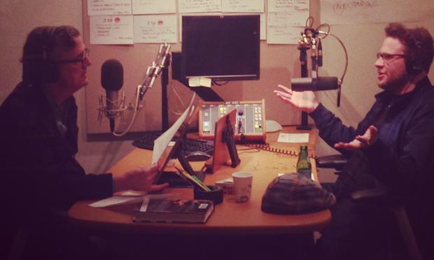 Kurt Andersen and Seth Rogen in the studio