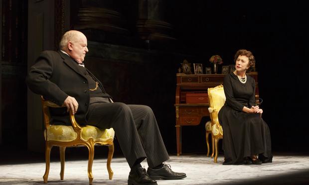 Dakin Matthews as Winston Churchill and Helen Mirren as Queen Elizabeth II in 'The Audience' on Broadway at the Gerald Schoenfeld Theatre.