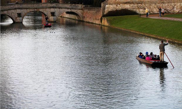 punting on the River Cam in Cambridge, England