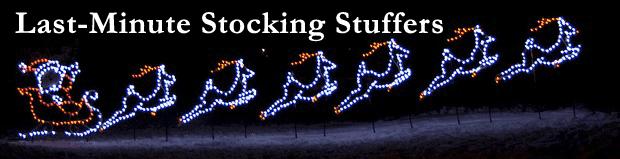 santa with reindeer light display last minute stocking stuffers