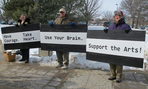Protesters rally for the arts in Topeka, KS on February 10, 2011.