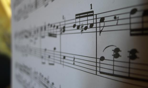 A sheet of music.