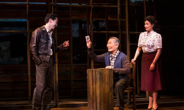 Michael K. Lee, George Takei and Lea Salonga in a scene from 'Allegiance' on Broadway.
