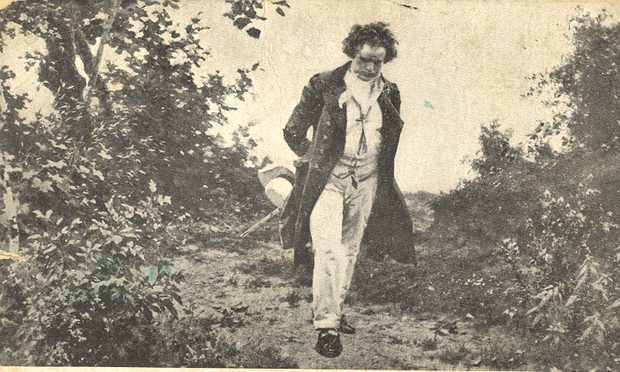 'Beethoven Walking in Nature', an art postcard by Julius Schmid