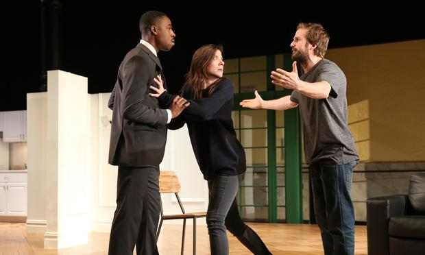 Grantham Coleman, Tessa Ferrer and Michael Stahl-David in 'Buzzer' at The Public Theater.