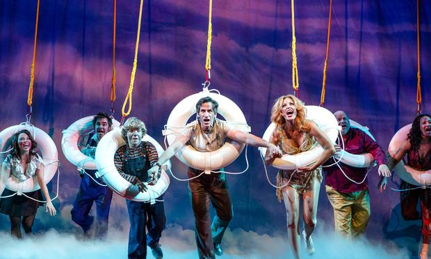 The cast of 'Disaster' performs at the Nederlander Theatre.