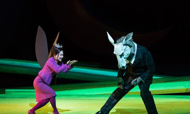 Kathleen Kim as Tytania and Matthew Rose as Bottom in Britten's 'A Midsummer Night's Dream.'