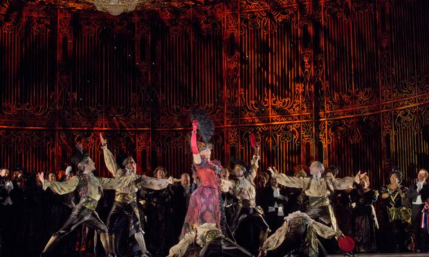 A scene from Act 2 of Johann Strauss, Jr.'s 'Die Fledermaus' with Susanna Phillips as Rosalinde.