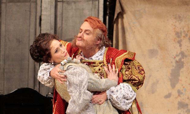 Roberto Frontali, as the title role, and Carmen Giannattasio (Alice Ford) in LA Opera's 'Falstaff.'