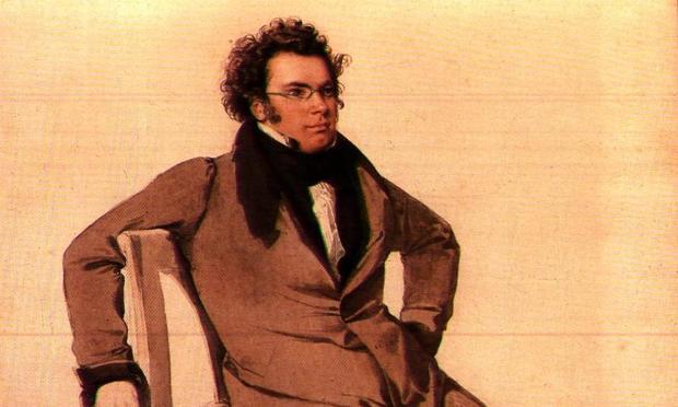 Franz Schubert reclines in a portrait by Wilhelm August Rieder.