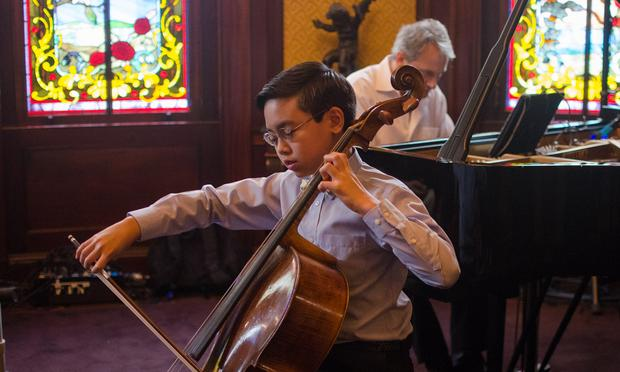 Cellist Dylan Wu, 11, from Manhasset, NY.