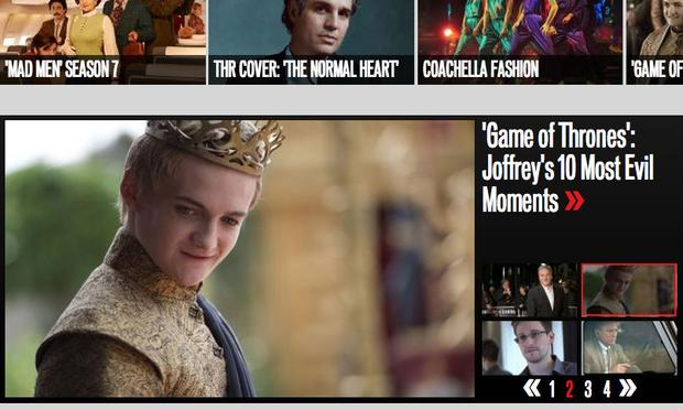 The Hollywood Reporter's homepage after a big night for 'Game of Thrones'