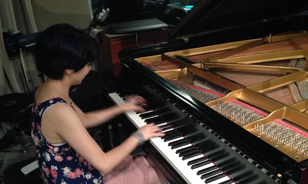 Pianist Claire Huangci in the WQXR studio.