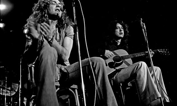 Robert Plant and Jimmy Page of Led Zeppelin in Hamburg, Germany, 1973