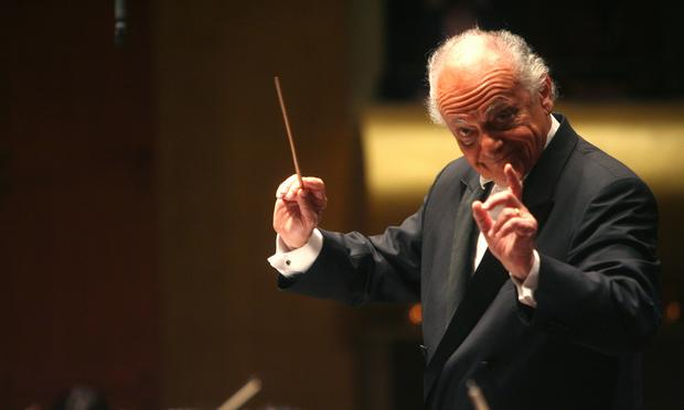 Lorin Maazel conducts the New York Philharmonic at Avery Fisher Hall on Dec. 11, 2008.