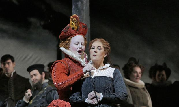 Elza van den Heever as Elisabetta and Sondra Radvanovsky in the title role of Donizetti's 'Maria Stuarda.'