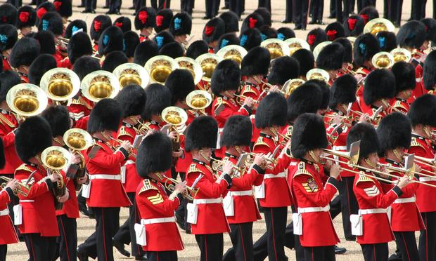 A British band performs at the 2007 Trooping the Colour, an annual ceremony.