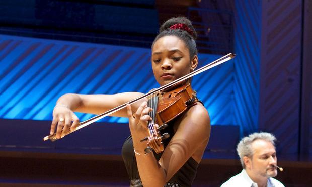 Violist Mira Williams at the New World Center in Miami.