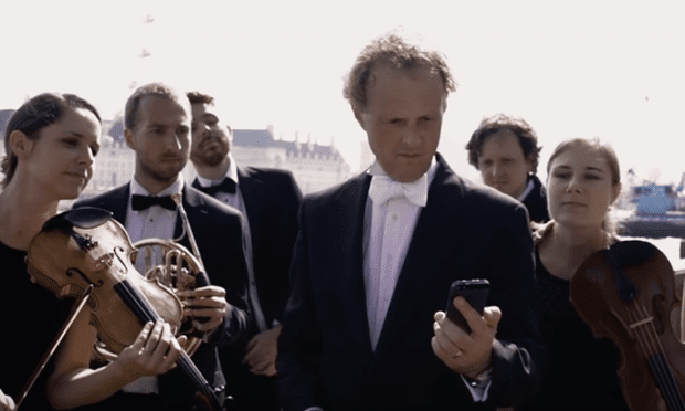 The Rainer Hersch Orkestra has some iPhone fun throughout London