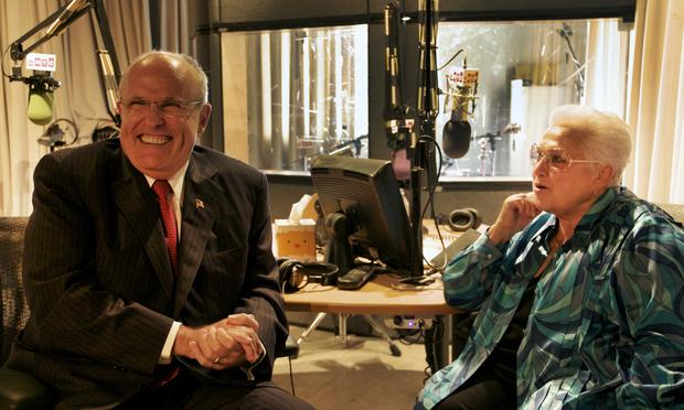Former New York City Mayor Rudolph Giuliani and opera legend Marilyn Horne share a laugh in the studio following their interview.