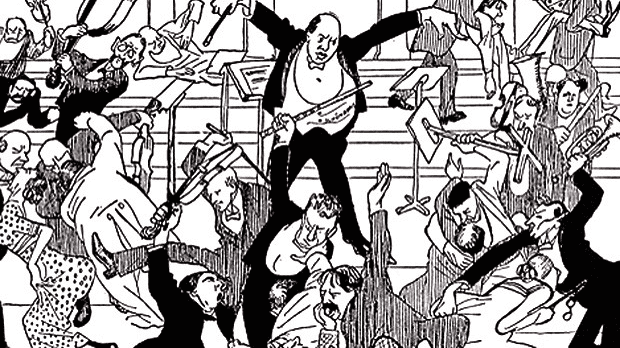 An illustration of the infamous 'scandal concert' that Arnold Schoenberg presented in 1913 in Vienna.