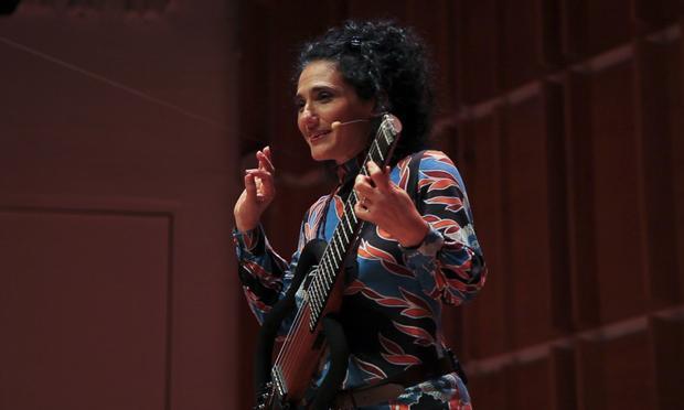 Brazilian guitarist Badi Assad performs at the New York Guitar Festival Marathon at New York's Merkin Concert Hall.