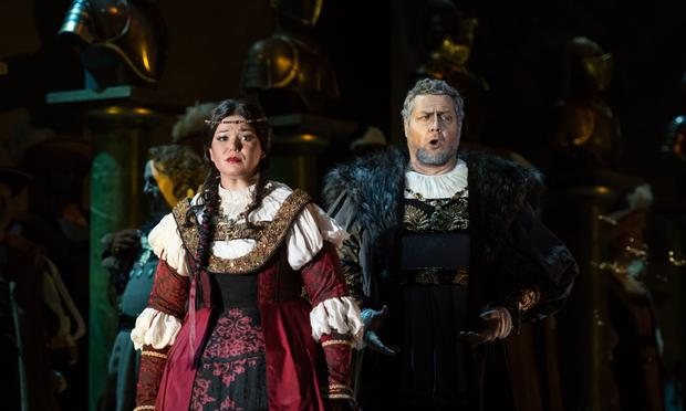 Elaine Alvarez and Orlin Anastassov in 'Ernani' from the Royal Wallonie Opera in Liege, Belgium.