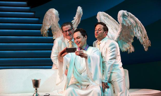 Tim Kazurinsky, Jim Parsons and Christopher Fitzgerald in 'An Act of God' at Studio 54.