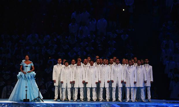 Anna Netrebko sings during the Opening Ceremony of the Sochi 2014 Winter Olympics at Fisht Olympic Stadium on February 7, 2014 in Sochi, Russia.