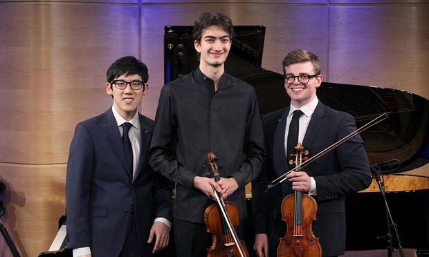 The 2017 Avery Fisher Career Grant recipients (L to R) pianist Haochen Zhang, violinist Stephen Waarts, and violinist Chad Hoopes, at the Jerome L. Greene Performance Space at WQXR.