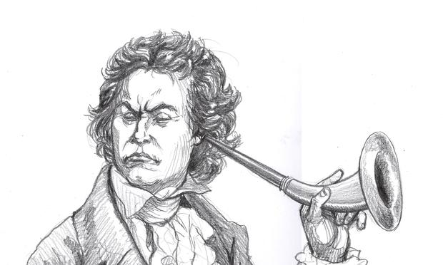 Beethoven gives his ear trumpet a test drive