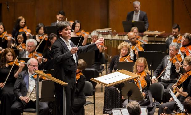 Alan Gilbert conducts the New York Philharmonic during their June 5 Biennial concert.
