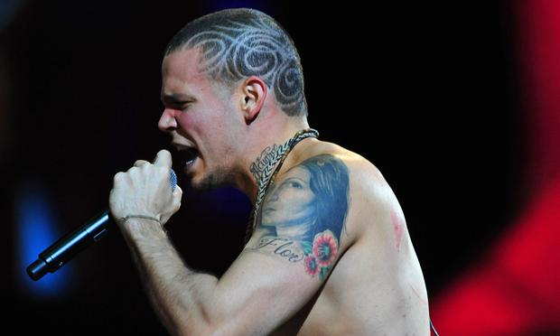 René Pérez Joglar (a.k.a. Residente) of tCalle 13 performs during the Vina del Mar International Song Festival on February 23, 2008 in Vina del Mar, Chile.