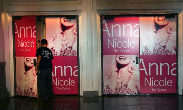 Advertising for New York City Opera's performance of 'Anna Nicole' is seen at BAM, before the company filed for bankruptcy