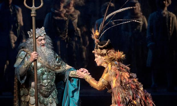 Plácido Domingo as Neptune, King of the Seas, and Susan Graham as Sycorax in the Baroque pastiche 'The Enchanted Island.'