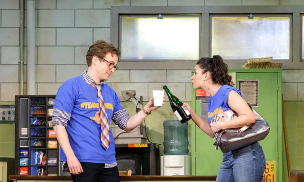 Ryan Spahn and Christina Nieves perform in 'Exit Strategy' at Primary Stages at the Cherry Lane Theatre.