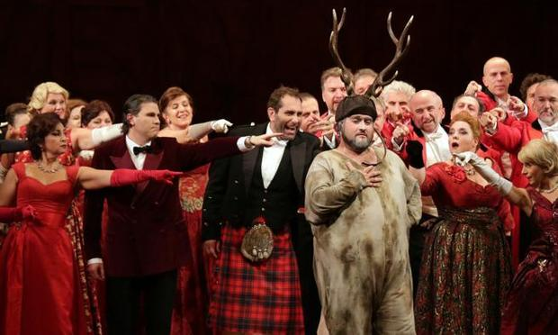 Baritone Nicola Alaimo stars in the title role in a production of 'Falstaff' from La Scala in Milan.