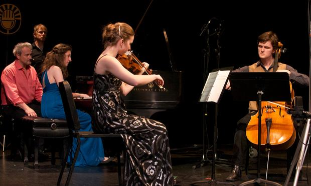 Christopher O'Riley; Agata Sorotokin, piano; Felicity James, violin; and Joseph Teeter, cello.
