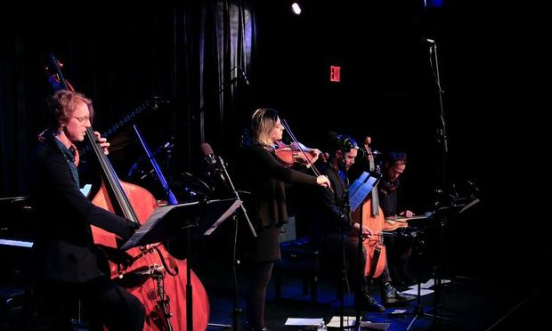 Richard Reed Parry, Nadia Sirota, Liam Byrne and Bryce Dessner at Symphony Space