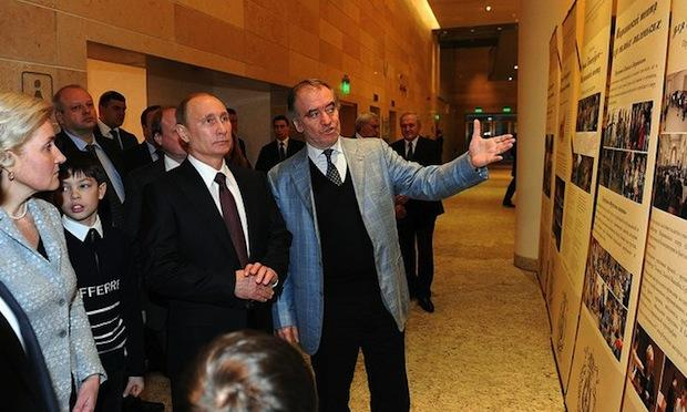 President Vladimir Putin and Conductor Valery Gergiev at an Olympics Rehearsal at the Mariinsky Theater in St. Petersburg, Russia