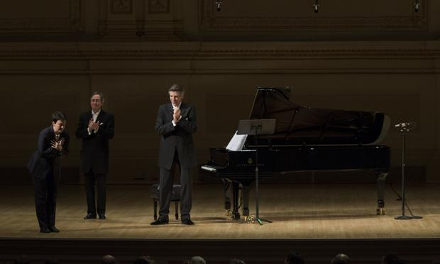 Jennifer Higdon taking a bow after the world premiere of 'Civil Words' at Carnegie Hall on February 9, 2015