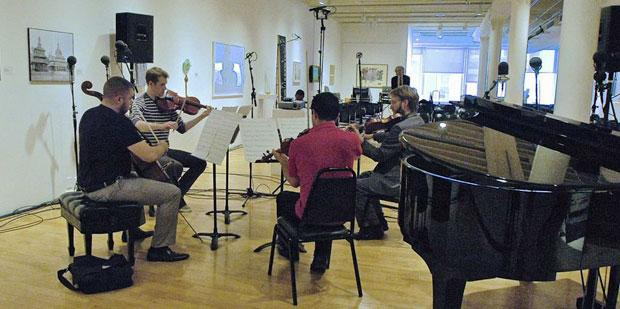 JACK Quartet rehearses for 2013 Look & Listen Festival at Pratt Manhattan Gallery