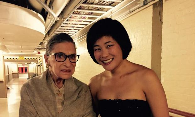 Supreme Court Justice Ruth Bader Ginsburg (left) backstage with violinist Jennifer Koh at the premiere of Kaija Saariaho's 'Light and Matter' at the Library of Congress