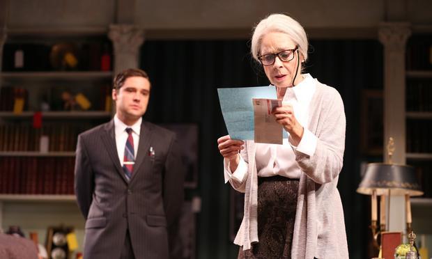 Joe Paulik as Harvey Abel and Maureen Anderman as Cornelia Cunningham in 'Love & Money' at the Signature Theatre.