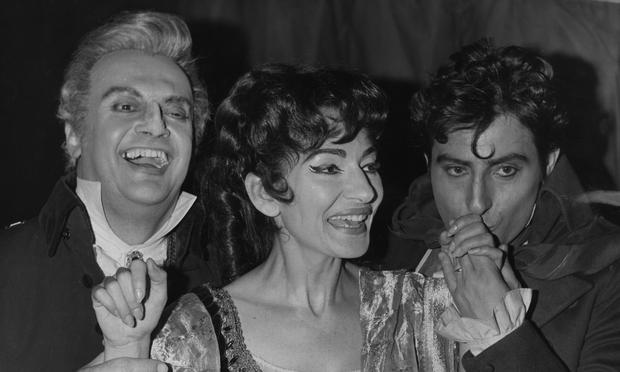 Maria Callas with co-stars Tito Gobbi (left) and Renato Cioni after her triumphant performance in 'Tosca,' at the Royal Opera House in 1965.