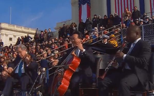 Yo-Yo Ma, Itzhak Perlman, Anthony McGill and Gabriela Montero at President Obama's first inauguration