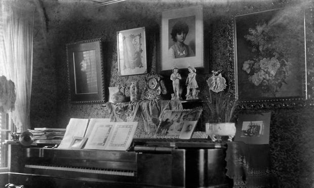 A parlor piano, circa 1900.