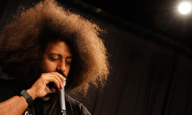 Reggie Watts performs in the Soundcheck studio.